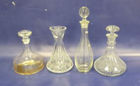 Waterford cut glass carafe, waisted andthree modern decanters