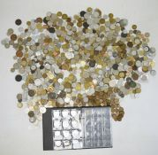 One large bagand a half filled folder of coins