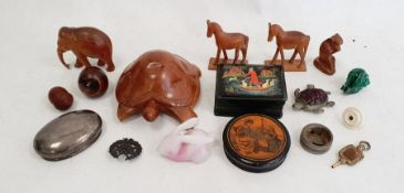 Papiermache circular snuff box with transfer print decoration of mother and children, a novelty