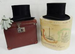 Lincoln Bennett & Co, London, black silk top hatin card hat box and another by Walter Barnard &