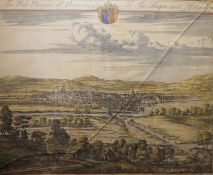 """Johannes Kip (Dutch 1652-1722) Handcoloured engraving """"Prospect of Gloucester City to the Mayor and"""