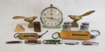 Sundry souvenir teaspoons, 1950sSmiths green metal alarm clockand sundry collectables(2 boxes)