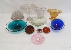Cut pedestal comport, two clear and coloured bowls, a bubble glass vaseand other glassware