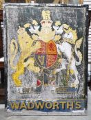 Old Wadworth painted wood double-sided signwith armorial bearings, 123cm x 92cm