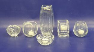 Waterford cut vase, square panelled with rounded sides, slice cut decoration, 20.5cm, a Waterford