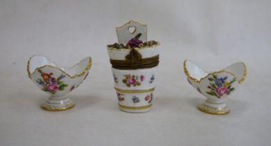 Two Meissen porcelain miniature trefoil pedestal bowls, relief floral spray and bug decorated,