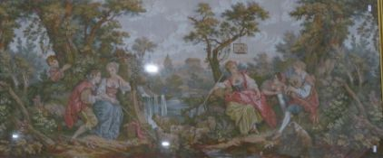 20th century needlework of an 18th century continental scene, in a moulded gilt effect frame 68 x