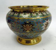 Chinese cloisonne enamel jardiniere, turquoise ground with scrolling lotus autour, 17cm high