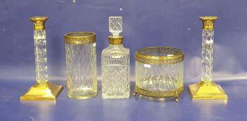 Villeroy & Boch gilt metal mounted cut glass jardiniere on three foliate tab feet, a similar