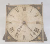 """30-hour longcase movement as a bracket clock, a painted 11"""" square dial decorated with fruit and"""