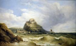 """Henry King Taylor (1799-1869) Oil on canvas """"Shipping off Mount Orgueil, Jersey"""", signed lower"""