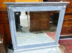 Blue painted shabby chic style overmantel mirrorwith moulded decoration, 107cm x 100cm