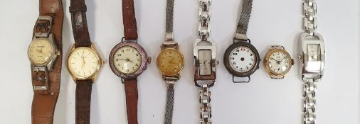 Silver-coloured metal and purple enamel wristwatch on brown leather strap (enamel worn), a pair of