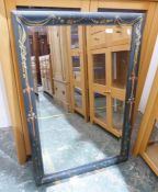 Rectangular mirror with bevel edge and painted frame, 66.5cm x 98cm Condition ReportProbably