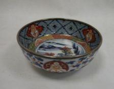 Japanese Imari porcelain bowlwith silver-mounted rim, Birmingham assay, lakeside landscape