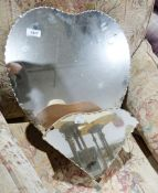 20th century mirrorwith heart-shaped back glass, in a heart-shape with shelf