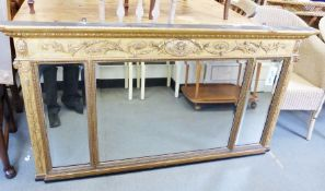Late 19th century over-mantel mirrorwith egg and dart moulded cornice above moulded frieze, three-