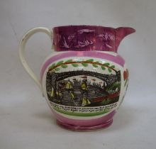 Early 19th century pink Sunderland lustre jug, transfer printed 'A West View of the Iron Bridge at