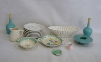 Six Pillivuyt French porcelain snail dishes, a Sylvac turquoise posy vase, a pair of turquoise