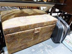 Vintage upholstered ottomanand suitcaseand contents of assorted textiles (2)
