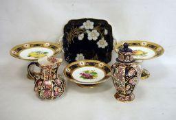 Masons Ironstone 'Penang' jug,matching lidded vase,three circular comports decorated with