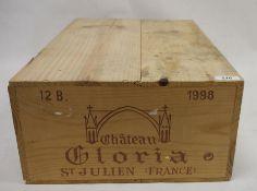 One case (12 bottles boxed) Chateau Gloria, Saint-Julien 1998