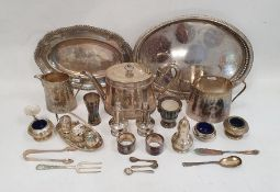 Assorted plated wareincluding cruet sets, pepperettes, teapot, etc (1 box)