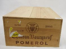 One boxed case (12 bottles) Chateau Bourgnef, Pomerol, 2005