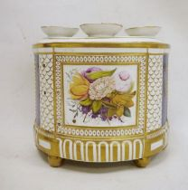 Early 19th century porcelain bough pot, floral panel decorated flanked by blue panels, gilt