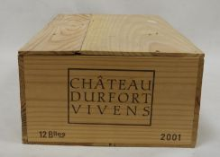 Chateau Durfurt Vivens one case (12 bottles boxed) Margaux 2001