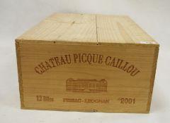 One boxed case (12 bottles) Chateau Picque Caillou Pessac-Leognan 2001