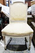 French style bedroom chair, grey painted frame, turned and fluted front legs to castors, yellow