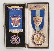 Silver-gilt and enamel Rotary medal having blue ribbon, gross weight approx. 25g and another