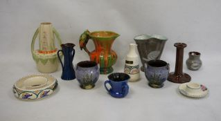 Orcadia ware pottery mugwith parrot handle, Wadeheath vase, Honiton, Devon and other decorative