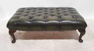 Green leather three-seat Chesterfield office reception sofa and matching footstool(2)