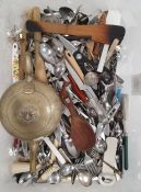 Quantity of assorted flatware, wooden salad servers, plastic cutlery and assorted plated and