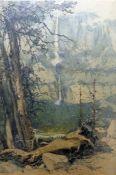 After Luigi Kasimir (1881-1962) Etching 'Yosemite Falls', paper label verso (43 x 29 cm)