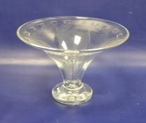 20th century cut Waterford centrepiece vase, circular and tapering with cut panelled border, on