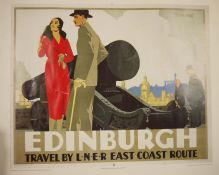 """Reproduction colour railway poster """"Edinburgh - Travel by LNER East Coast Route"""", unframed and a"""