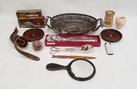 Quantity of modern plated serving spoons, postcards, coins, rosewood backed mirrorand other