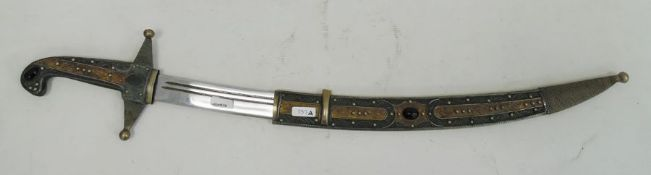 Eastern dagger with curved blade, the hilt, grip and sheath decorated with metal ropetwist and inset