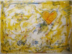 John Allen (?) (20th century) Limited edition print Abstract of heart in yellow background, signed