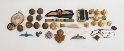 Quantity GWR, military and other buttons, enamel 'Whiskey' label, mother-of-pearl handled seal,