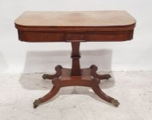 19th century mahogany fold-over card table, the rectangular top with rounded corners opening to