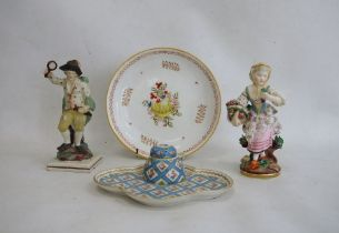 18th century pearlware figure of gentleman wearing green cloak and holding flaming torch and mirror,