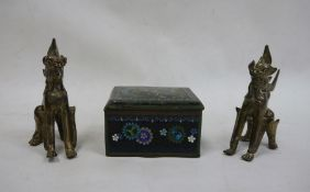 Japanese cloisonne enamel box, rectangular with dragon decoration, 10cm wide and a pair of brass