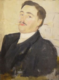 Jacques Emile Blanche (French, 1861-1942) Oil on board Half-length portrait of a young man smoking,