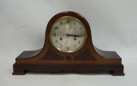 20th century Napoleon's hat-shaped mantel clockwith Arabic numerals to the steel dial