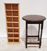 Oak occasional table on barleytwist supports, stretchered base and a modern narrow shelving unit(2)
