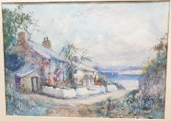Joseph Hughes Clayton (1870-1930) Watercolour Seaside cottage scene, signed lower right, 25cm x 35cm